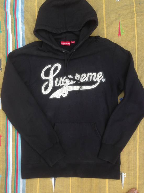 Supreme Supreme Leather Script Studded Hoodie Size US L / EU 52-54 / 3