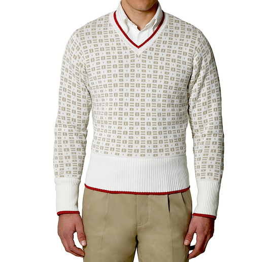 Thom Browne Insigna V-Neck Sweater with Patches Size US XL / EU 56 / 4