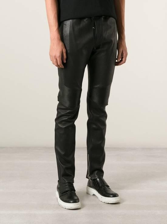 Balmain LAST DROP! Size M Fits S - Slim Fit Leather Ribbed Biker Style Sweatpants - $3100 Retail Size US 30 / EU 46 - 1