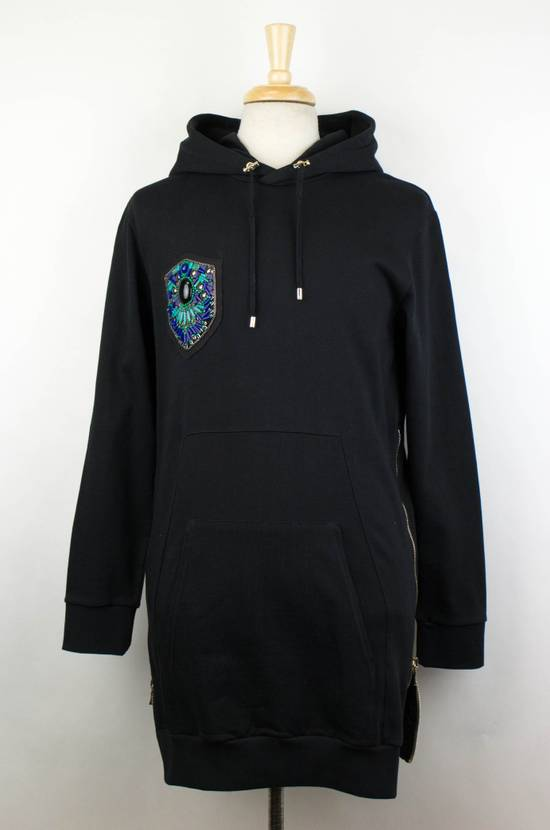 Balmain Men's Black Cotton Embroidered Long Hooded Sweater Size Large Size US L / EU 52-54 / 3