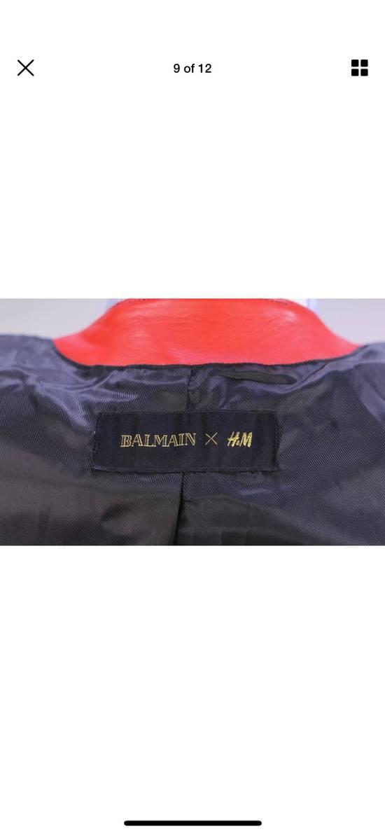 Balmain H&M x Balmain Red Leather Biker Jacket Size US S / EU 44-46 / 1 - 8