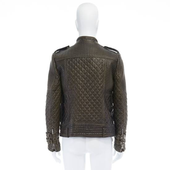 Balmain runway BALMAIN ROUSTEING green quilted leather motorcycle biker jacket EU48 M Size US M / EU 48-50 / 2 - 5