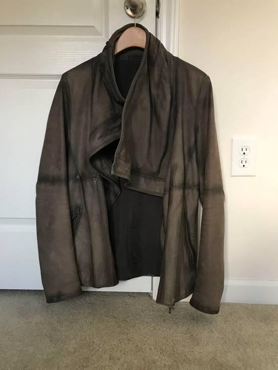 Julius Greige Nubuck Asymmetric Cowl Neck Leather Jacket Size US S / EU 44-46 / 1 - 1