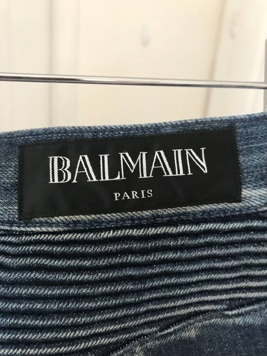 Balmain Blue Washed Biker Jeans Size US 31 - 4