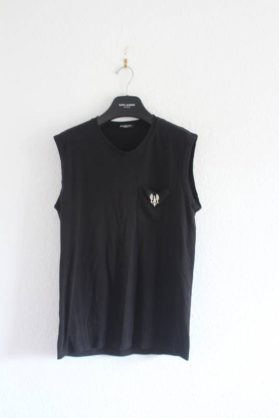 Balmain SS11 860$ RRP Decarnin Era Black Sleeveless Metal Pin Shirt Hand Made Size US M / EU 48-50 / 2