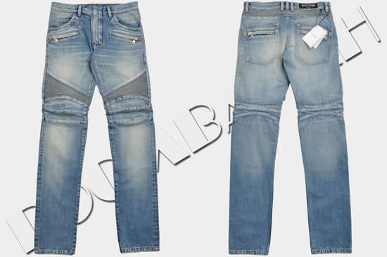 Balmain Slim Signature Light Blue Biker Jeans Size US 29 - 1