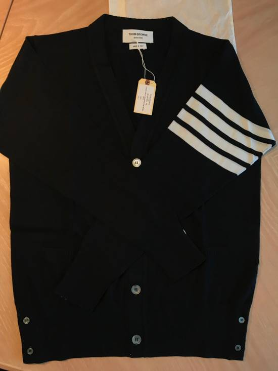Thom Browne Navy Merino Wool Classic 4 Bar Cardigan Size US XL / EU 56 / 4 - 2