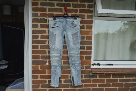Balmain Balmain Blue Ribbed Biker Jeans Size US 31