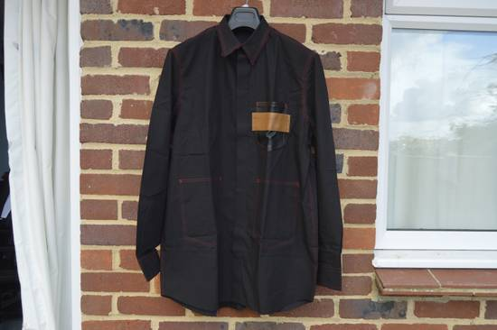 Givenchy Black Leather Pocket Shirt Size US M / EU 48-50 / 2