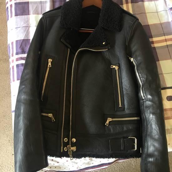 Balmain Black Leather & Shearling Biker Jacket Size US S / EU 44-46 / 1
