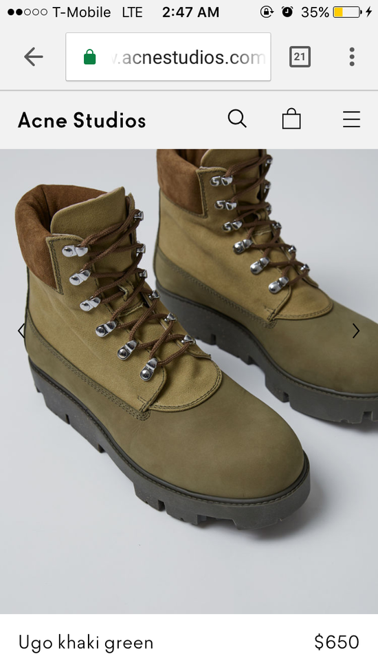 579ca8dc623 Acne studios ugo hiking boots size 8/40 Made in Italy