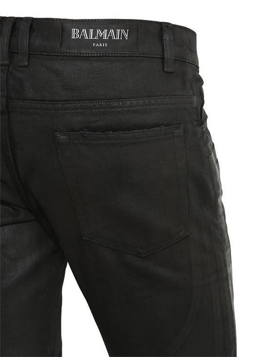 Balmain Balmain Leather & Cotton Black Denim Biker $1680 Authentic Jeans Size 33 New Size US 33 - 2