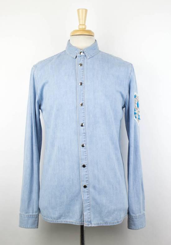 Balmain Denim Embroidered Button Down Casual Shirt Size 15.5 US 39 EU Size US XXS / EU 40