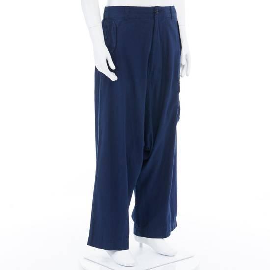 """Yohji Yamamoto YOHJI YAMAMOTO blue cotton dropped crotch exteme wide leg cargo pants JP3 33"""" L Size US 33 - 1"""