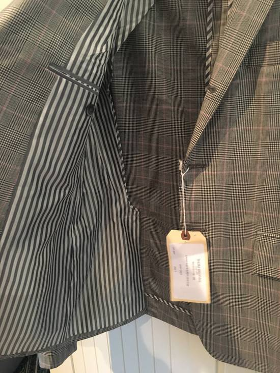 Thom Browne Men's Grey Black & White Prince Of Wales Wool Jacket Size US M / EU 48-50 / 2 - 3