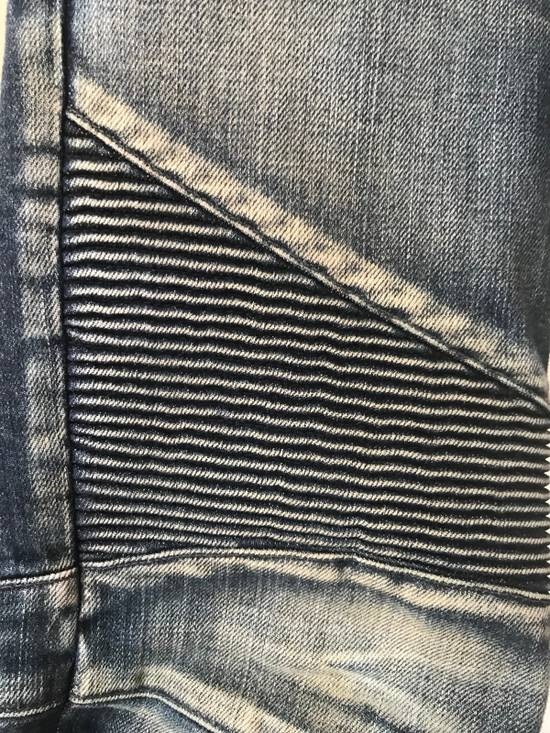 Balmain Blue Washed Biker Jeans Size US 31 - 2