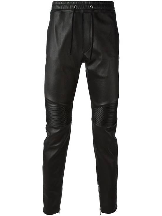 Balmain LAST DROP! Size M Fits S - Slim Fit Leather Ribbed Biker Style Sweatpants - $3100 Retail Size US 30 / EU 46 - 3