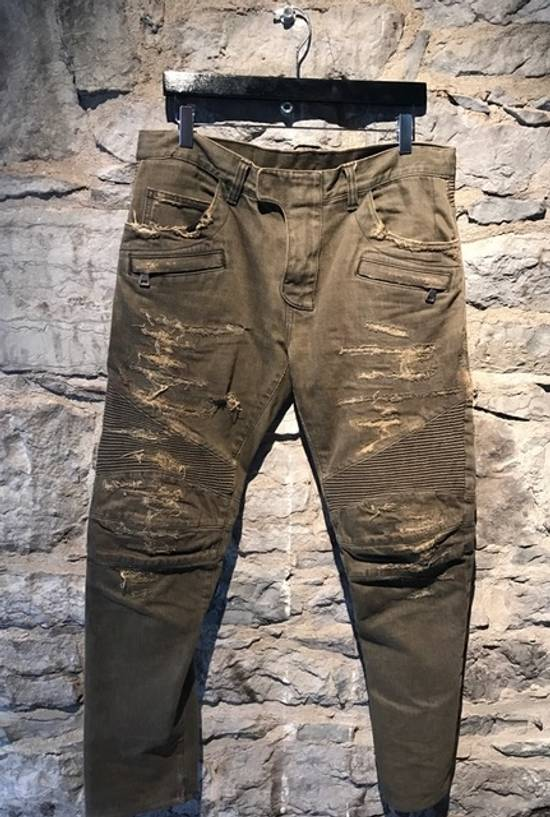 Balmain Balmain khaki destroyed biker jeans Size US 33