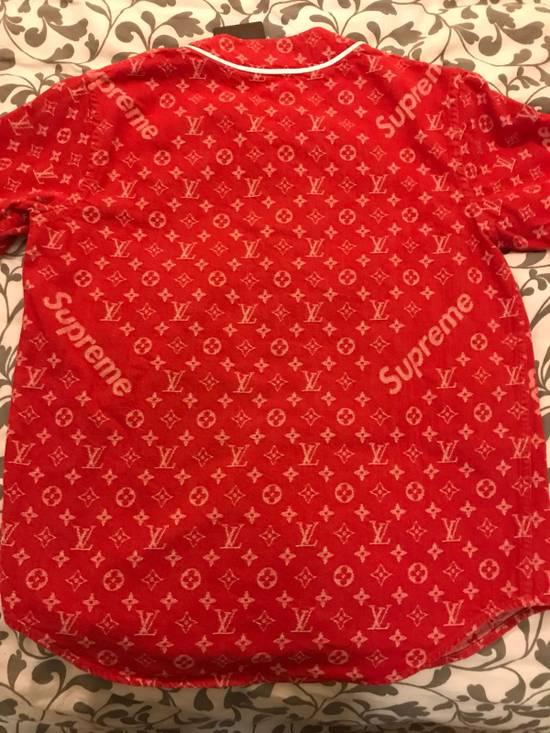 Supreme Louis Vuitton Supreme Red Denim Baseball Jersey Size US S / EU 44-46 / 1 - 7