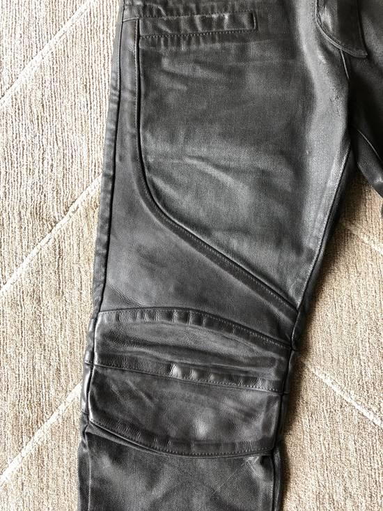 Balmain Biker Jeans Waxed Leather Knee Size US 30 / EU 46 - 2