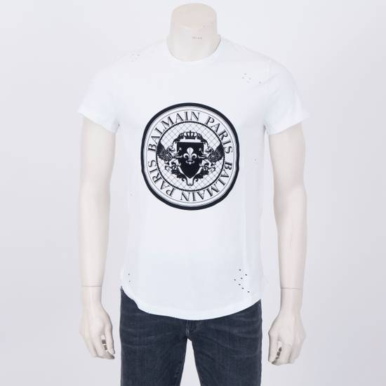 Balmain SS18 New White Cotton Balmain Velvet Logo Print Tshirt Size US M / EU 48-50 / 2