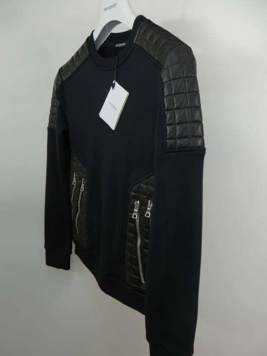 Balmain Quilted leather and cotton sweatshirt Size US XS / EU 42 / 0 - 1