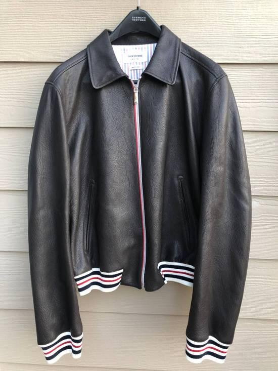 Thom Browne NWT, Striped Detail Leather Jacket (SIZE 4) Size US XL / EU 56 / 4