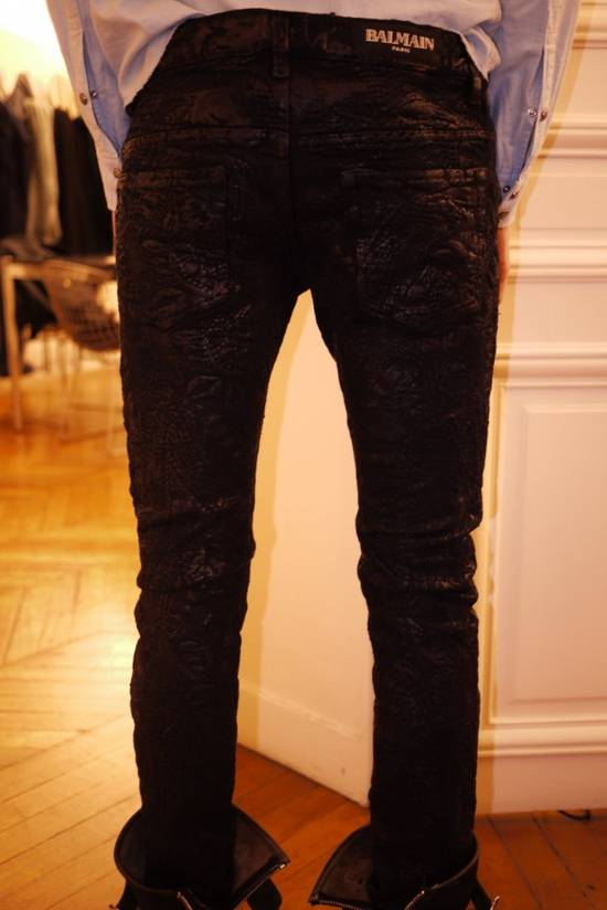 Balmain Midnight Blue Waxed Embroidered Jeans Size US 27 - 20