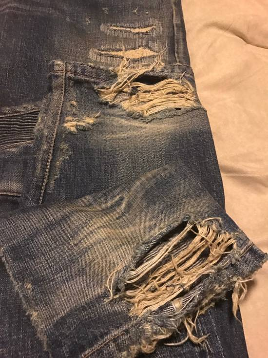 Balmain Grail Balmain 18cm Blue Destroyed Biker Denim Jeans Size US 36 / EU 52 - 5