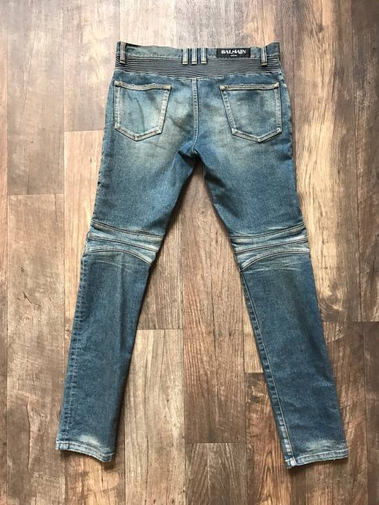 Balmain Blue Distressed Ribbed Biker jeans Size US 31 - 1