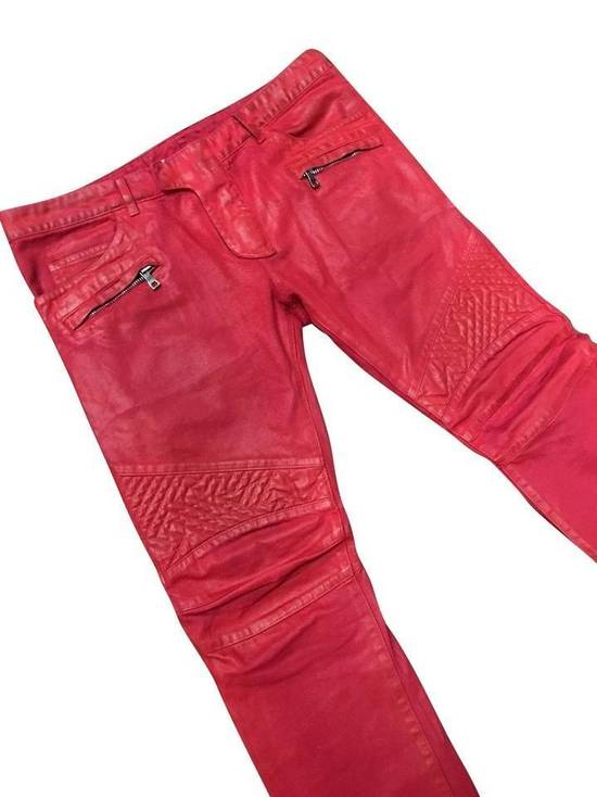 Balmain Balmain Signature Men's Wax Coated Denim Scarlet Red Motto Zip Jeans sz 36 Size US 36 / EU 52 - 2