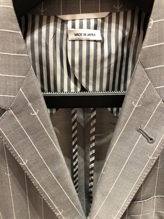 Thom Browne THOM BROWNE CLASSIC BLAZER IN GRAY/WHITE ANCHOR PINSTRIPE Size 40R - 1