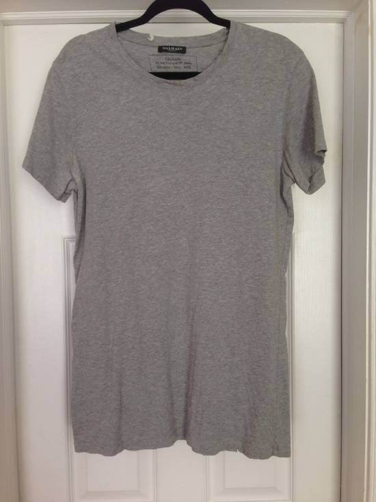 Balmain Decarnin Distressed Grey Basic T Shirt FINAL BUMP STEAL! Size US L / EU 52-54 / 3