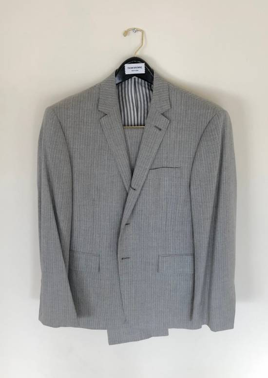 Thom Browne THOM BROWNE FLEECE SUIT IN LT. GRAY/WHITE PINSTRIPE (NEW & UNTAILORED) Size 40R