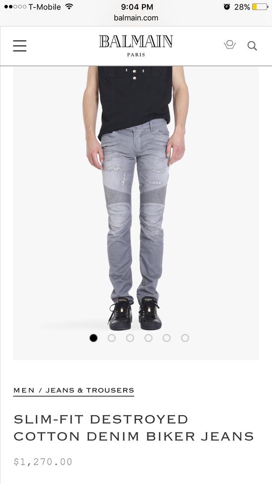 Balmain Balmain grey biker jeans Size US 34 / EU 50 - 15