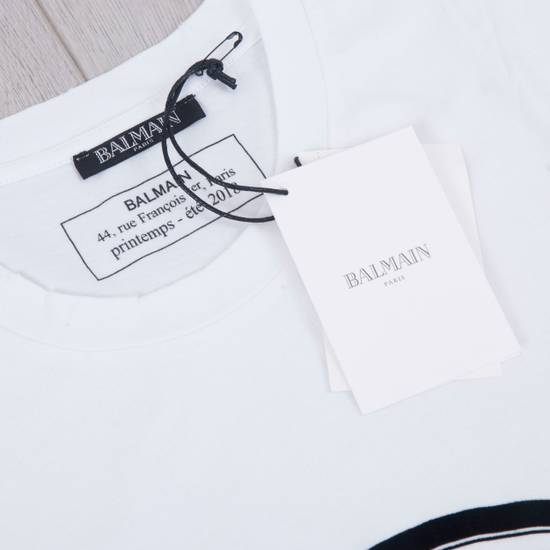 Balmain SS18 New White Cotton Balmain Velvet Logo Print Tshirt Size US M / EU 48-50 / 2 - 7