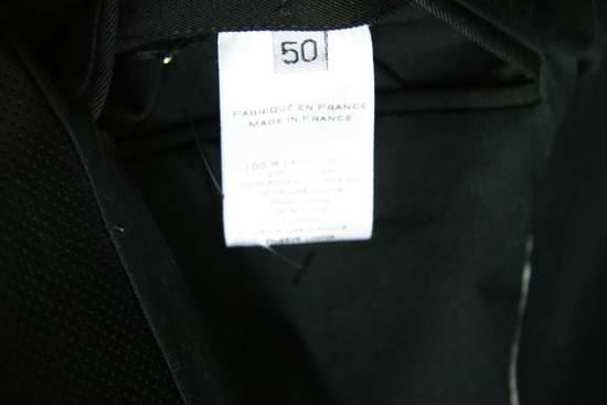 Balmain RARE $4k+ SS12 Balmain Black Perforated Leather Peak Lapel Jacket Blouson 50 48 Size 40R - 9