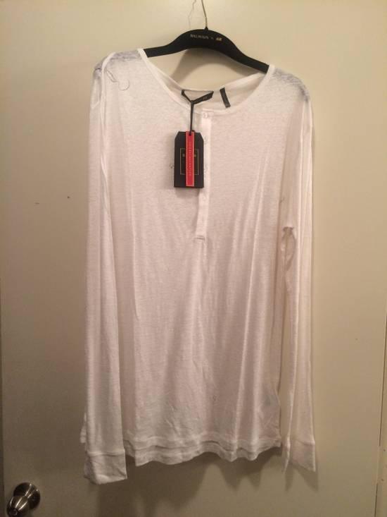 Balmain White Henley Shirt Size US L / EU 52-54 / 3 - 2