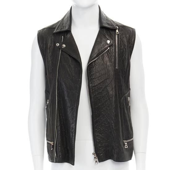 Balmain BALMAIN classic black pebble leather sleeveless biker jacket S FR46 US36 UK36 Size US S / EU 44-46 / 1