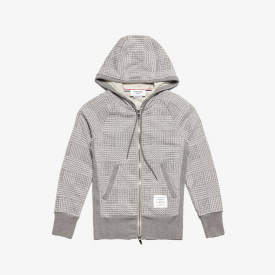 Thom Browne GRAY PRINTED FRENCH TERRY KNIT ZIP-UP HOODIE Size US S / EU 44-46 / 1