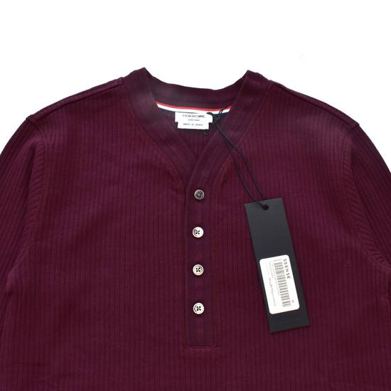 Thom Browne Wine Red Ribbed Henley Shirt NWT Size US XS / EU 42 / 0 - 1