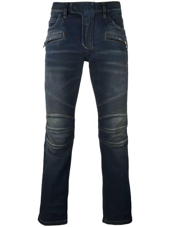 Balmain Dirty Blue Biker Jeans Size US 27 - 1
