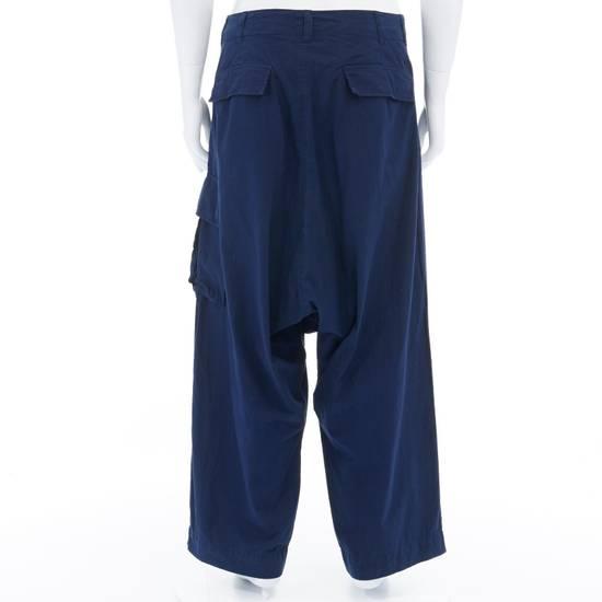 """Yohji Yamamoto YOHJI YAMAMOTO blue cotton dropped crotch exteme wide leg cargo pants JP3 33"""" L Size US 33 - 3"""