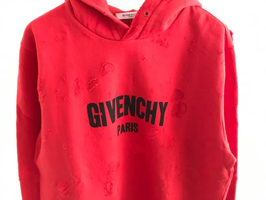 Givenchy red distressed logo hoodie Size US XL / EU 56 / 4 - 1