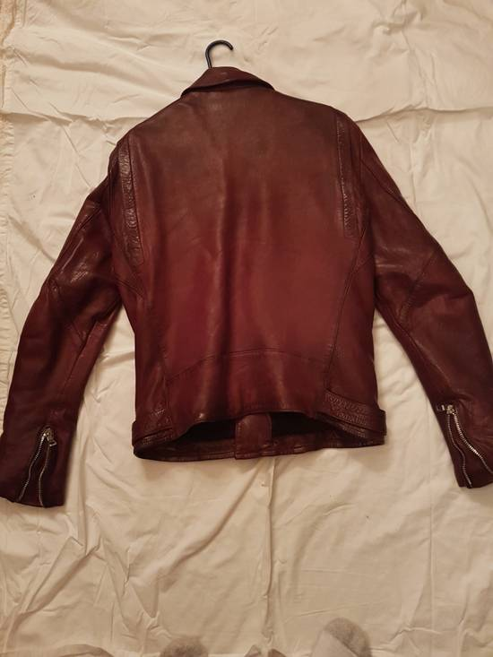 Balmain Oxblood Lambskin Leather Biker Jacket Size US L / EU 52-54 / 3 - 4