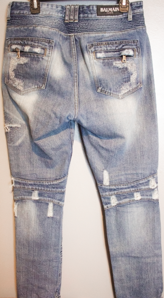 Balmain SLIM-FIT COTTON DENIM BIKER JEANS Size US 35 - 2