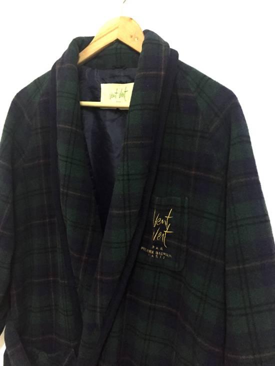 Balmain Vintage 90s Vent Vent PAR Pierre Balmain sleepwear wool plaid flannel in cupra lining japan. Size 38S - 2