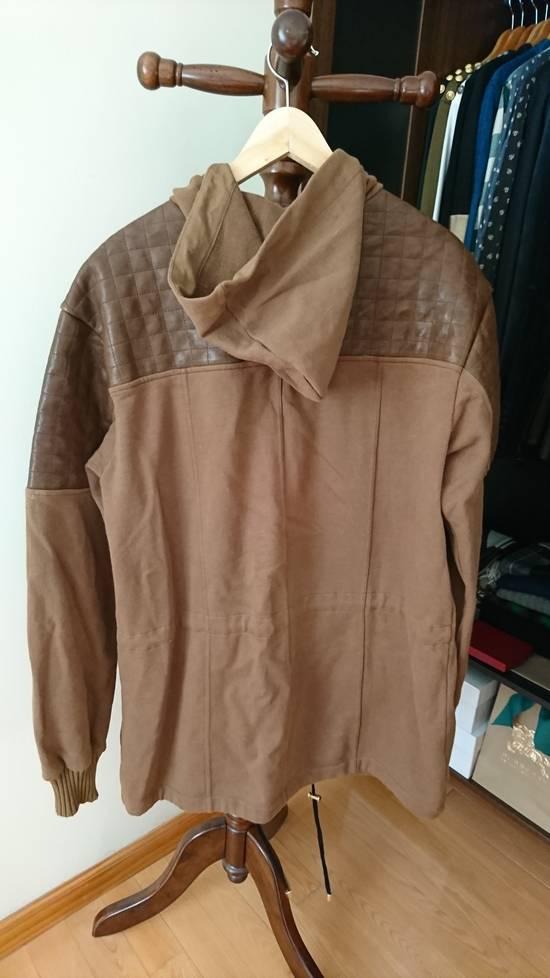 Balmain Brown quilted lamb leather trim hoodie/parka hybrid Size US L / EU 52-54 / 3 - 2