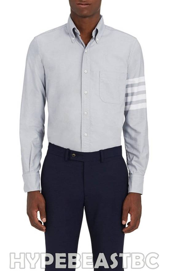 Thom Browne THOM BROWNE 4-Bar Striped Sleeve Cotton Oxford Shirt, Size 1, Gray, NWT Size US S / EU 44-46 / 1