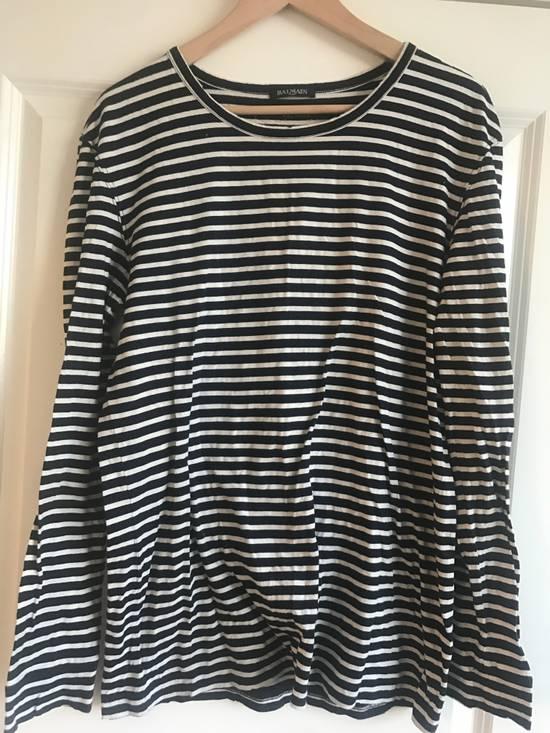 Balmain Navy & White Striped Distress Long Sleeve Shirt Size Large Size US L / EU 52-54 / 3